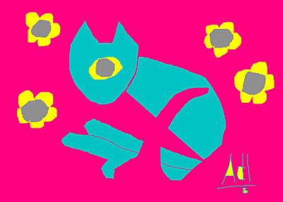Aqua Cat Poster by Anita Dale Livaditis