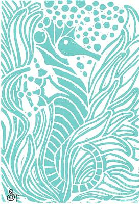 Aqua Seahorse Poster by Stephanie Troxell