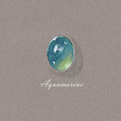 Aquamarine Cabochon Poster by Marie Esther NC