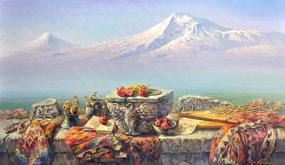 Ararat With A Lavash Poster by Meruzhan Khachatryan