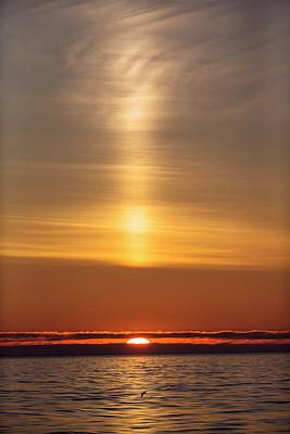 Arctic Sunset With Light Beam Poster by Peter J. Raymond