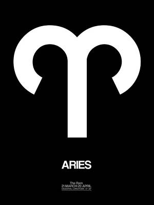 Aries Zodiac Sign White Poster by Naxart Studio