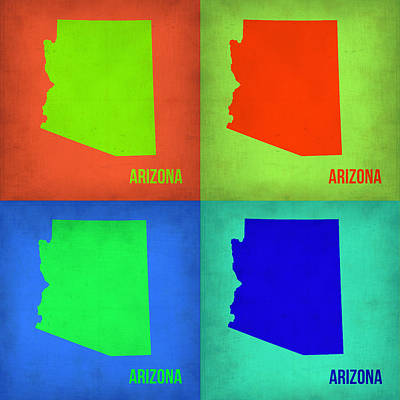 Arizona Pop Art Map 1 Poster by Naxart Studio
