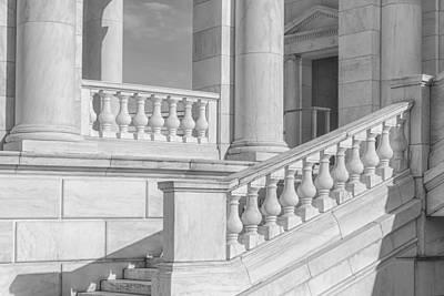 Arlington Memorial Amphitheater  Bw Poster by Susan Candelario