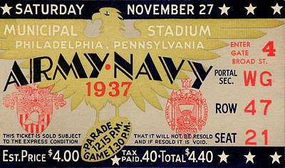 Army Navy 1937 Poster by Benjamin Yeager