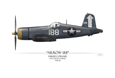 Arrow 188 F4u Corsair - White Background Poster by Craig Tinder