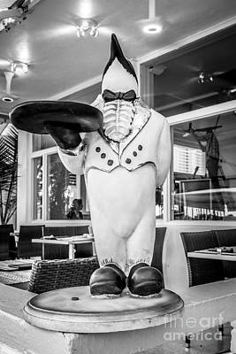 Art Deco Penguin Waiter South Beach Miami - Black And White Poster by Ian Monk