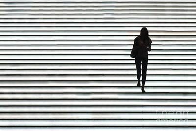 Art Silhouette Of Girl Walking Down Poster by Lars Ruecker