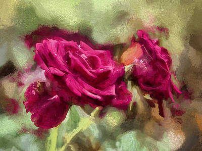 Artistic Painterly Red Rose Db Late September 2013 Poster by Leif Sohlman