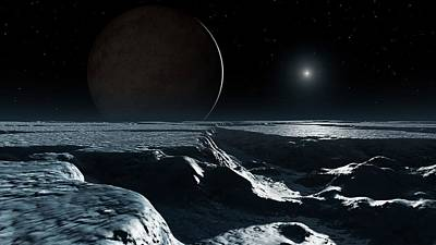 Artwork Of Pluto Seen From Charon Poster by Mark Garlick
