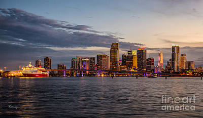 Sunsets Over Downtown Miami Poster by Rene Triay Photography
