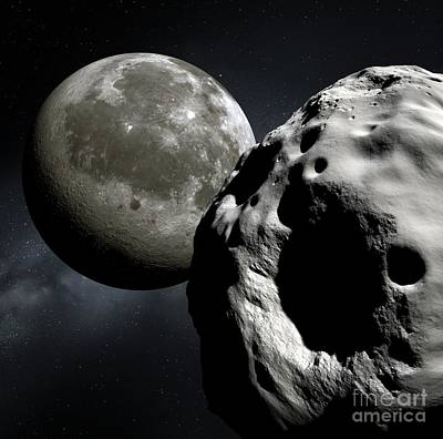 Asteroid Apophis And The Moon, Artwork Poster by Detlev Van Ravenswaay