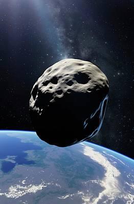 Asteroid Passing Earth Poster by Detlev Van Ravenswaay