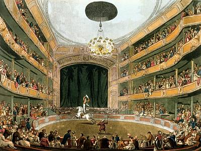 Astleys Ampitheatre, From Ackermanns Poster by T. & Pugin, A.C. Rowlandson