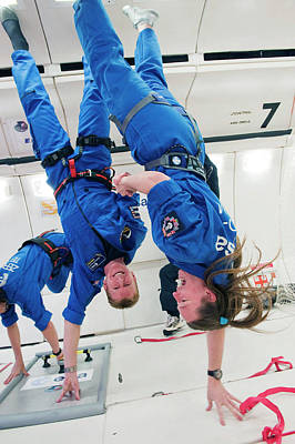 Astronauts Training In Free-fall Poster by Esa - A. Le Floc'h
