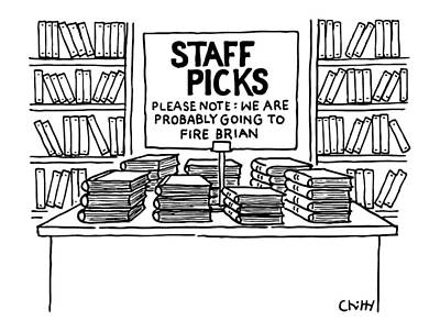At A Bookstore Poster by Tom Chitty