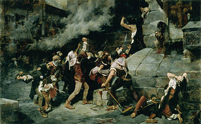 At The Feet Of The Saviour, Slaughter Of The Jews In The Middle Ages, 1887 Oil On Canvas Poster by Vicente Cutanda y Toraya