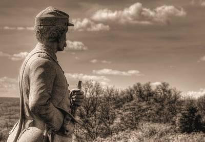 At The Ready - 84th Ny Vol Infantry 14th Brooklyn Regiment Red Legged Devils Railroad Cut Gettysburg Poster by Michael Mazaika