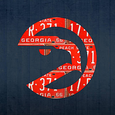 Atlanta Hawks Basketball Team Retro Logo Vintage Recycled Georgia License Plate Art Poster by Design Turnpike