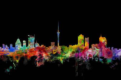 Auckland New Zealand Skyline Poster by Michael Tompsett