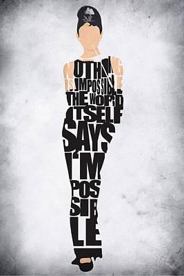 Audrey Hepburn Typography Poster Poster by Ayse Deniz