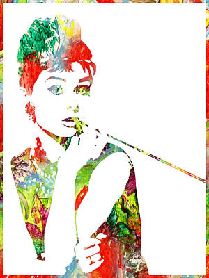 Audrey Hepburn Watercolor Poster by Doc Braham