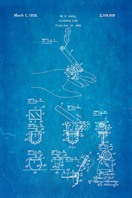 Aull Cigarette Ring Patent Art 1938 Blueprint Poster by Ian Monk