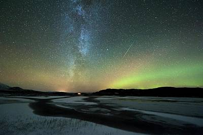 Aurora Borealis And Orionids Poster by Tommy Eliassen