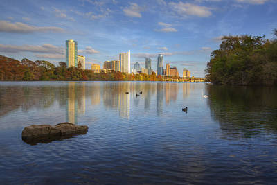 Skyline Images Of Austin - Autumn From Zilker Park Poster by Rob Greebon