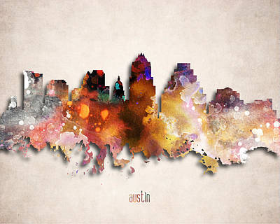 Austin Painted City Skyline Poster by World Art Prints And Designs