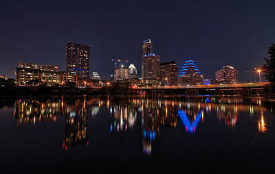 Austin Skyline At Night Poster by Todd Aaron