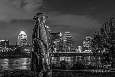 Austin Skyline With Stevie Vaughan Statue Poster by Tod and Cynthia Grubbs