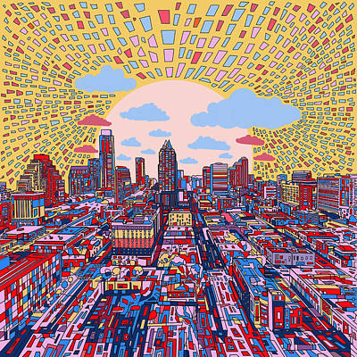 Austin Texas Abstract Panorama 2 Poster by Bekim Art