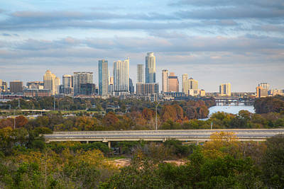 Autumn In Austin - A Skyline Image From The Zilker Clubhouse Poster by Rob Greebon