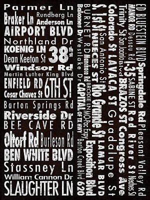 Austin Texas Nsew Street Names Poster by Carl Crum