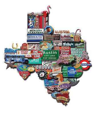 Austin - Texas Shaped Photomontage Poster by Carl Crum