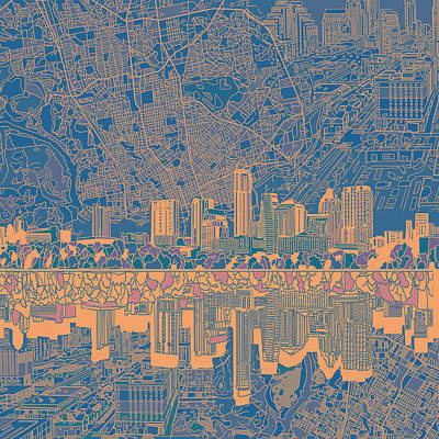 Austin Texas Skyline 2 Poster by Bekim Art