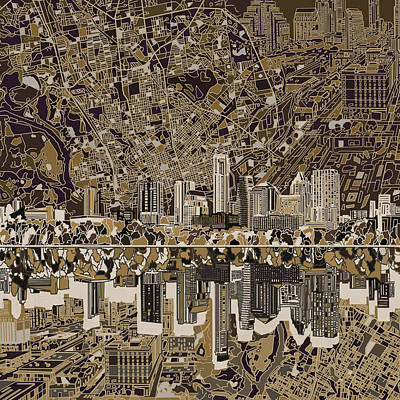 Austin Texas Skyline 5 Poster by Bekim Art