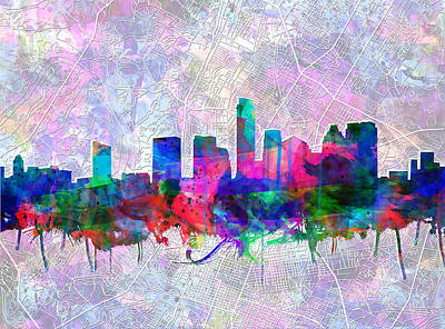 Austin Texas Skyline Watercolor 2 Poster by Bekim Art