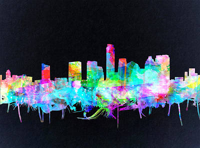 Austin Texas Skyline Watercolor 3 Poster by Bekim Art