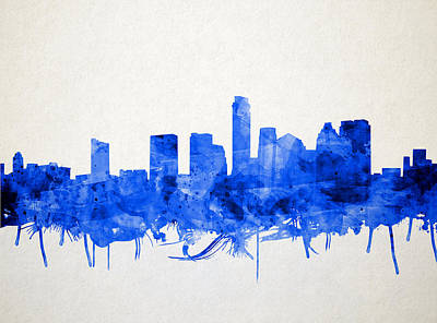 Austin Texas Skyline Watercolor 5 Poster by Bekim Art