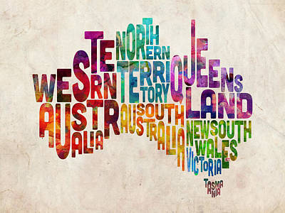 Australia Typographic Text Map Poster by Michael Tompsett