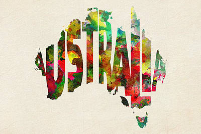Australia Typographic Watercolor Map Poster by Ayse Deniz