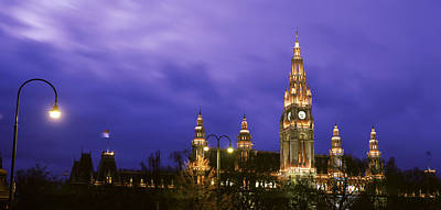 Austria, Vienna, Rathaus, Night Poster by Panoramic Images