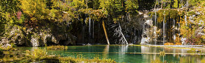 Autumn At Hanging Lake Waterfall Panorama - Glenwood Canyon Colorado Poster by Brian Harig