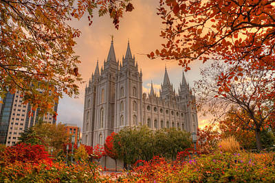 Autumn At Temple Square Poster by Dustin  LeFevre