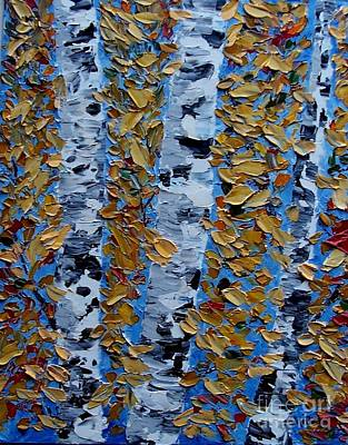 Autumn Birch/impasto Poster by Peggy Miller