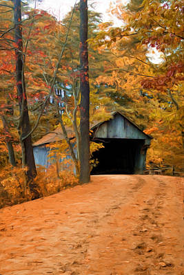 Autumn Covered Bridge Poster by Joann Vitali