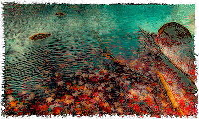 Autumn Leaves On Cary Lake - Abstract Poster by David Patterson
