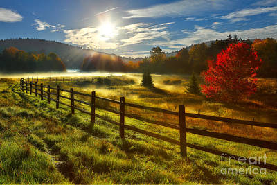 Autumn Meadow Sunrise I - West Virginia Poster by Dan Carmichael